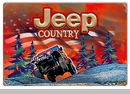 """Red Jeep Country Winter Scene Metal Sign, 12""""x18"""""""