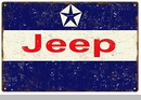 """Reproduction Aged Jeep Logo Metal Sign, 12""""x18"""""""
