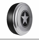 Freedom Star Design in Billet Silver Metallic, Rigid Tire Cover