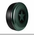 Freedom Star Design in Black Forest Green, Rigid Tire Cover