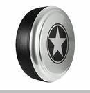 Freedom Star Design in Bright Silver Metallic, Rigid Tire Cover