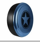 Freedom Star Design in Steel Blue Metallic, Rigid Tire Cover