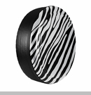 Zebra Print Design in Bright White, Rigid Tire Cover