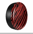 Zebra Print Design in Flame Red, Rigid Tire Cover