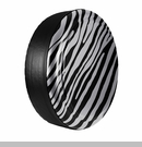 Zebra Print Design in Billet Silver Metallic, Rigid Tire Cover