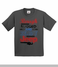 """""""Rough, Rugged, and Ready"""" Youth Tee in Charcoal"""
