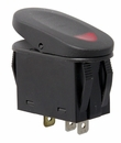Rocker Switch, 2 Position - Black with Red Indicator Light