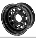 "Steel Wheel, Black, 15"", 5 -5.5 Pattern, 3.75"" Backspace-Jeep CJ"