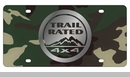 Trail Rated License Plate, Mirror on Green Camouflage