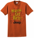 "Closeout (MD only) ""Wanna Get Dirty"" Jeep Men's Short Sleeve Shirt in Texas Orange"