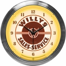 Willys Sales Service Jeep Neon Clock