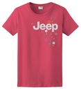 CLOSEOUT - Women's Jeep Logo & Stars Red Short Sleeve Shirt, Juniors Cut
