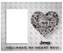 """You Make My Heart Rev"" Jeep Heart Diamond Plate Finish Frame"