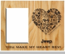 """You Make My Heart Rev"" Jeep Wrangler Heart Wood Finish Frame"