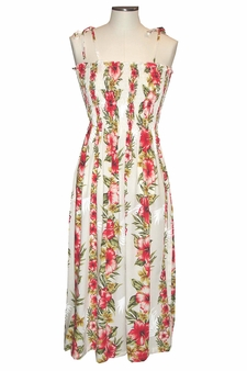 Aloha Mood White Mid-Length Tube Dress