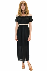Angels by the Sea Black Belt and Sleeve Dress