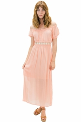 Angels by the Sea Coral Belt and Sleeve Dress