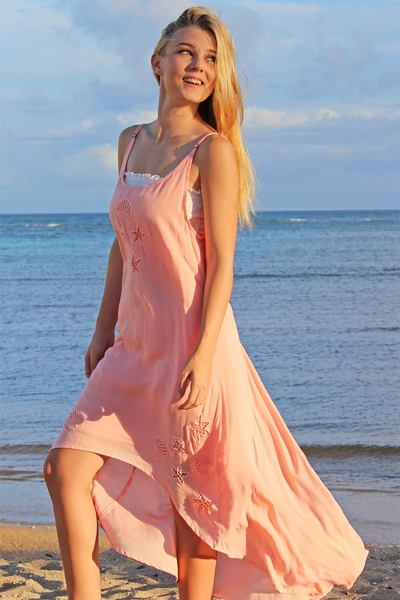 Angels by the Sea Coral Embroidered Shell Dress