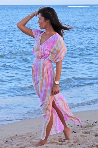 Angels by the Sea  Pink V-Neck Dress