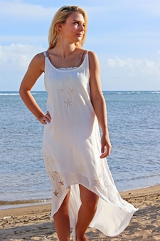 Angels by the Sea White Embroidered Shell Dress