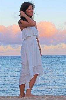 Angels by the Sea White Ruffle Tail Cut Dress