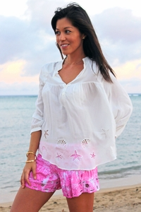 Angels by the Sea White Starfish and Sea Shells Embroidered Blouse