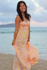 Angels by the Sea Yellow Print Reversible Maxi Dress with Elastic Bust