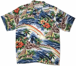 Anuenue Blue Retro Hawaiian Shirt