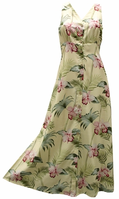 Bamboo Orchid Yellow Button Front Tank Dress