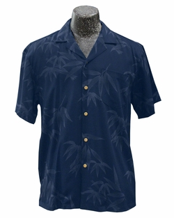Bamboo Garden Navy Hawaiian Shirt