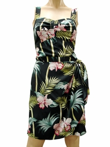 Bamboo Orchid Black Sarong Dress