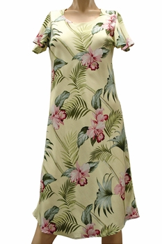 Bamboo Orchid Yellow A-Line Dress with Cap Sleeves