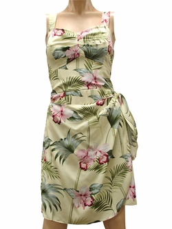 Bamboo Orchid Yellow Sarong Dress