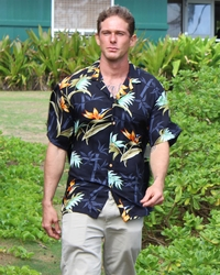 Bamboo Paradise Black Hawaiian Shirt