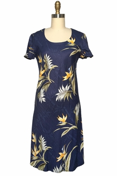 Bamboo Paradise Navy A-Line Dress with Cap Sleeves