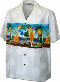 Beach Happy Hour White Hawaiian Shirt