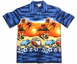 Beach Van and Bug Navy Hawaiian Shirt