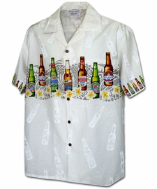 Beer Time White Hawaiian Shirt