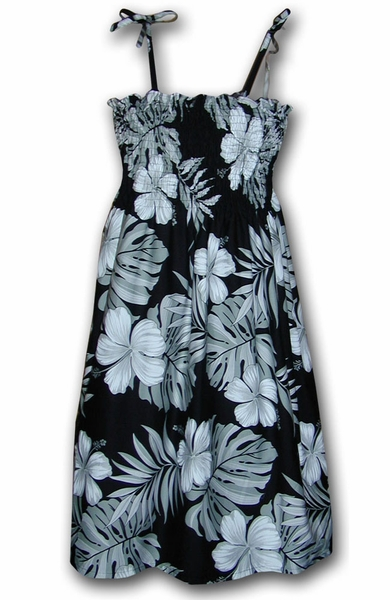 Big Hibiscus Black Spaghetti Tube Dress
