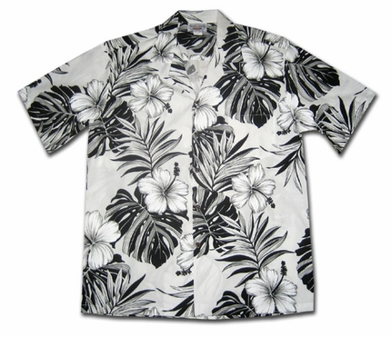 Big Hibiscus White Hawaiian Shirt