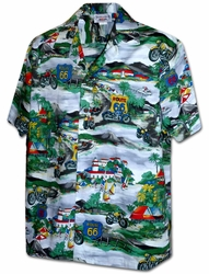 Bikes on Route 66 Grey Hawaiian Shirt