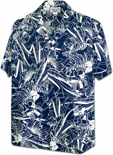 Botanical Navy Hawaiian Shirt