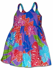 Cartoon Jungle Purple Girl's Bungee Dress
