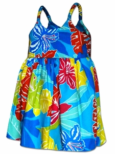 Cartoon Jungle Turquoise Girl's Bungee Dress