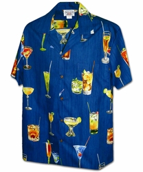Cocktails Navy Hawaiian Shirt