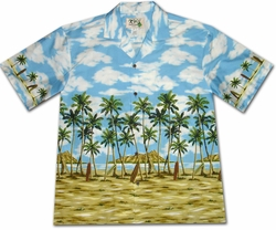 Coconut Beach Blue Hawaiian Shirt