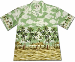 Coconut Beach Green Hawaiian Shirt