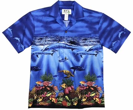 Colorful Reef Navy Hawaiian Shirt