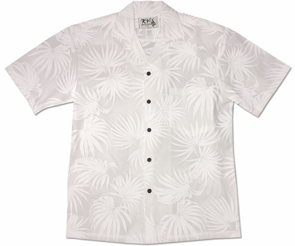 Dancing Ferns White Hawaiian Shirt
