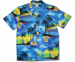 Diamond Head Dusk Blue Hawaiian Shirt